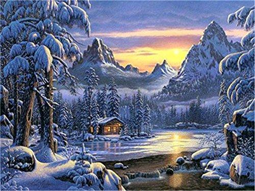 DIY Öl Malen nach Zahlen Kit für Erwachsene Anfänger 40,6x 50,8cm-Winter Schnee Szene Forest Kabine, Zeichnen mit Pinsel Weihnachten Decor Dekorationen Geschenke Without Frame