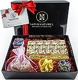 Bio Badepralinen Oase der Sinne/Edles 7er Geschenkset von höchster Qualität/Badekugeln in hochwertiger Geschenk Box mit Satinschleife/Vegane Geschenk-Idee für die Frau