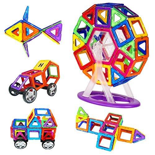 Magnetische Bausteine, Zooawa magnetische Blöcke Platten Kits Entdeckung Bau pädagogische Formen Spielzeug 78 Stück für Kinder, bunt (Phantasie Entdeckung Blöcke)