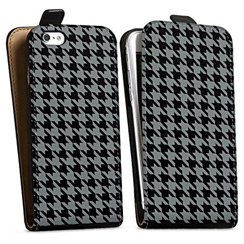 Apple iPhone X Silikon Hülle Case Schutzhülle Muster Schwarz Grau Karomuster Downflip Tasche schwarz