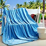 "SUNNY KEY--Mantas para cama @ Súper Suave Azul / Marrón / Rosado / Rojo,Sólido Geométrico 100% Poliéster mantas W200*L230cm , w70"" x l79"""