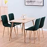 GOLDFAN Tables de Salle à Manger et 4 Chaise Table en Bois et 4 Vert Chaise en Tissu pour Cuisine Salon Bureau