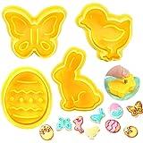Zaloife Stampi Biscotti Pasquali, 4 PCS Tagliabiscotti Set, Formine per Biscotti Farfalla Coniglietto Uova di Pasqua e Pulcin