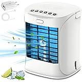 Climatiseur mobile 2021 - Mini climatiseur personnel - Ventilateur portable - 3 vitesses de vent et 7 couleurs - Capacité d'e