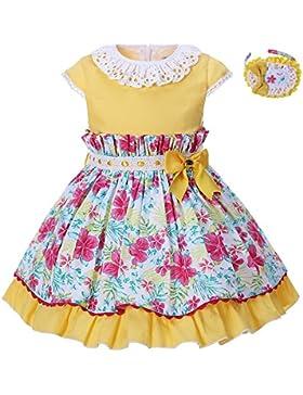Lajinirr Vestido De Fiesta Floral De Las Niñas Sweety Lace Cap Sleeve Fit-Y-Flared Con La Decoración De La Venda...