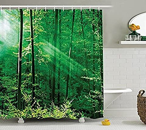 Farm House Decor Shower Curtain Set By Ormis, Sunlight Bursting Into The Forest Trees Foliage Misty Morning Serenity Picture, Bathroom Accessories, 72