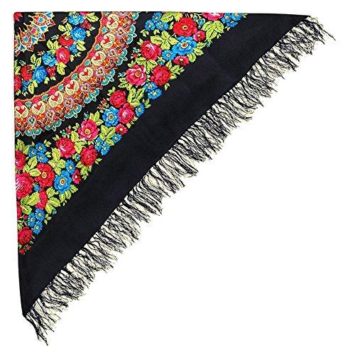 Schöner Schwarzer Großer Schal Tuch (Umschlagtuch) mit Rosen Blumenmuster und Fransen im russischen Stil