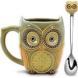 SQOWL 3D قدح القهوة مضحك لطيف البومة كوب القهوة السيراميك مع ملعقة الشاي القدح مجموعة أكواب للنساء والفتيات 12oz سيان