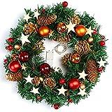 naler Corona de Navidad para puerta corona decoración navideña con bolas, piñas color