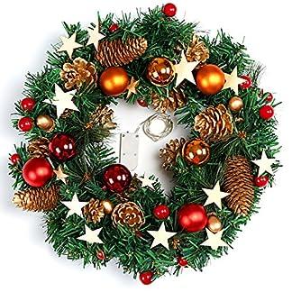 Naler Guirnalda de Corona de Navidad Puerta Decoración Navideña con Bolas Piñas Conos con Luz Blanca Cálida LED