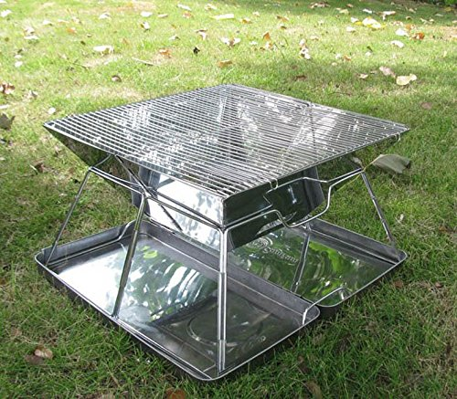 YHKQS-KQS BBQ Falten Portable Holzkohle Barbeque Grill Camping Firebowl mit Grill, faltende Beine und tragen Tasche -