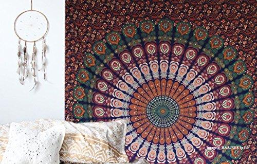 Raajsee Indisch Psychedelic Wandteppich Mandala Blau Rosa Twin 54x84 Inches/ Ein perfektes Geschenk / Elefant Boho Wandtuch Hippie,Mehrfarbige Wandbehang Mandala Decke Tuch / Groß Indien Baumwolle Bohemian Wandtucher (140 x - Mandala Hippie