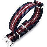 Cinturino MiLTAT 20mm, 21mm o 22mm G10 Bullet Tail Watch Strap, nylon balistico, lucido - blu, rosso eGrey Stripes