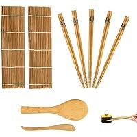 Kit de fabrication de sushis en bambou 9 pièces, tapis à rouler en bambou pour débutants, comprend 2 tapis à rouler en…