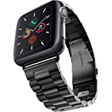 Evershop Stainless Steel Strap Band Compatible With Apple Watch Series 5/4/3/2/1, iWatch Straps Replacement Wrist Band with Metal Clasp for Apple Watch All Models 42mm/44mm (Black)