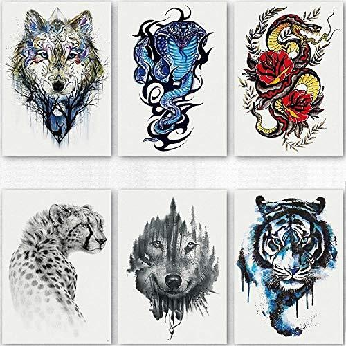 Temporäre Tattoo-Aufkleber Cobra Tattoo Aufkleber Wasserdicht Männlich Dauerhafte Blume Arm Herrschsüchtig Wolf Kopf Leopard Tiger Kopf 3D Blume Bein Sexy Tattoo 6St (Wolf Kostüm Augen Make Up)