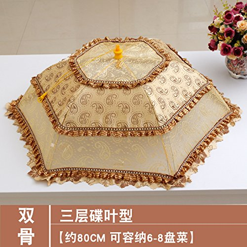 BBDQX Folding cover, dining table cover, table cover, fly proof cover, large household bowl, umbrella cover, vegetable cover and round cover,Three layer spliced butterfly leaf type diagonal 78cm68cm -