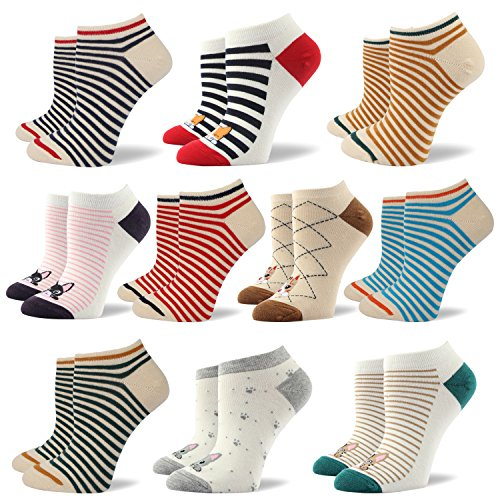 Socken aus Baumwolle Thermal Socken Erwachsene Unisex Socken Frauen Socken Dame Socken Mädchen Socken Lässige Socken (KQWSK06 - 10 Paare Mehrfarbig, EU 35.5-40/UK 3-7) (Jungen Socken Toe Gold)
