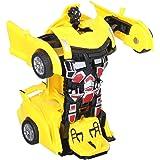 لعبة سيارة متحولة ترانسفورمر للاطفال، اصفر
