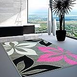 Alfombra con diseño de moda diseño Con certificado Oeko-Tex de la flor de colour gris De colour rosa de crema de colour negro y de diferentes tamaños, 200 x 290 cm
