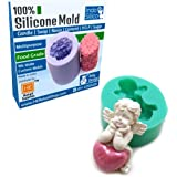 RETAIL SUPPLIES IndoSilico Multipurpose Clay, Resin, Sugar, Cement Craft Project Baby Angel Heart Mold, Silicone DIY Art Moul