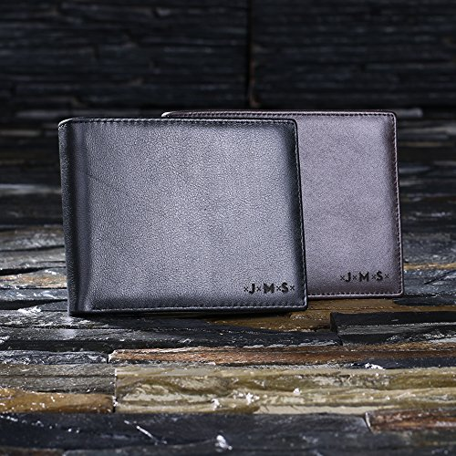 Personalised Brown Leather Wallet with Wooden Gift Box - Add a Monogram and a Secret Message! Free Personalisation - Best Gift for Men