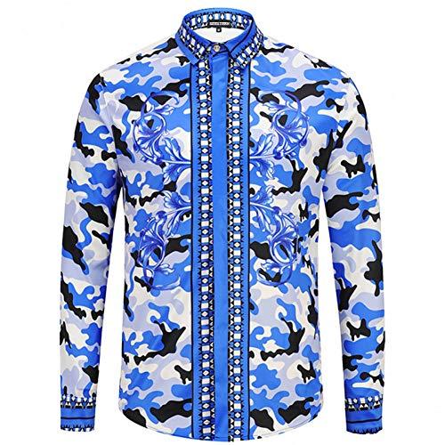 CHENS Langarm/Slim fit/Strand/L Frühling Herbst Amerika Männer Highend Fashion Show Langarm Hemd Muster Camouflage Herrenhemden Tops