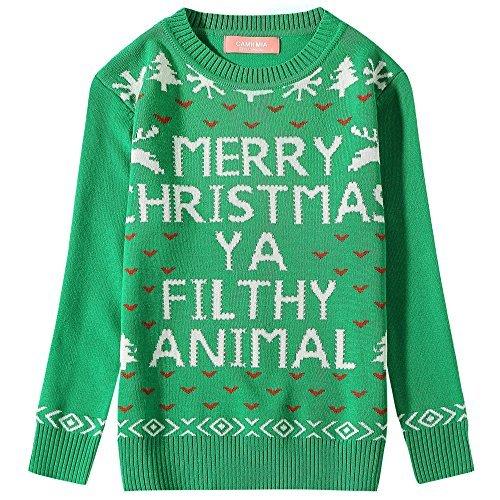 (Camii Mia Mädchen Funny Weihnachts Crewneck Hässlicher Weihnachts Pullover (Small(7-8), Grün))