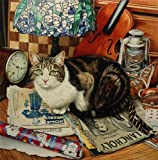 Sml. Tiffany The Cat With Violin and Tiffany Lamp, Print by Geoff Tristram, Tabby Cat Picture Size Approx. 10 x 8 inches