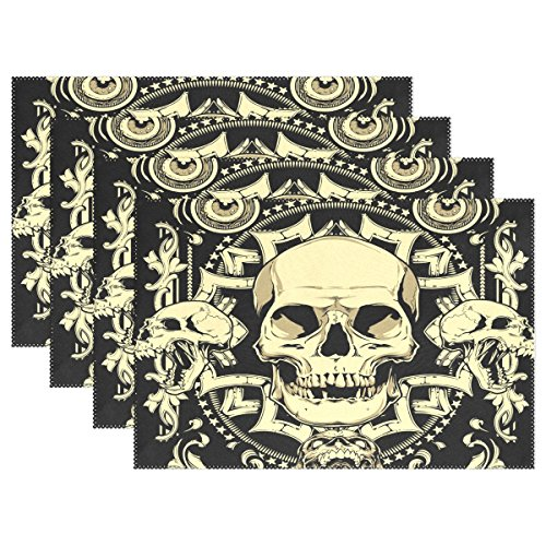 ALAZA Golden Skull 3D Digitaldruck mit schwarzem hitzebeständigem Platzdeckchen, schmutzabweisend, Rutschfest, waschbar, Polyester, 30,5 x 45,7 cm, 1 Stück, Polyester-Mischgewebe, Multi, 12x18 inch (Diy Hipster Halloween)