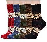 Lot de 5 Chaussettes chaude imprimées à renne et flocon de neige en laine bas épais souple confortable socquette convient aux femme /fille /garçon parfait en l'hiver et Noël