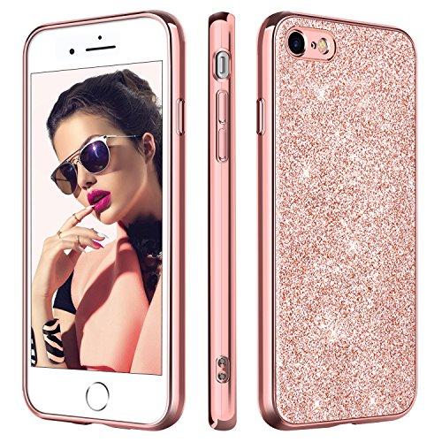 BENTOBEN Hülle für iPhone 8, iPhone 7 Handyhülle, Slim Hülle iPhone 8 Glitzer Ultra dünn iPhone 8 Slim Case Kratzfeste Anti Rutsch TPU Schutzhülle Hülle für iPhone 7 iPhone 8 Case Cover Rose Gold