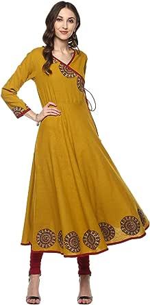 Yash Gallery Women's Cotton Angrakha Kurta