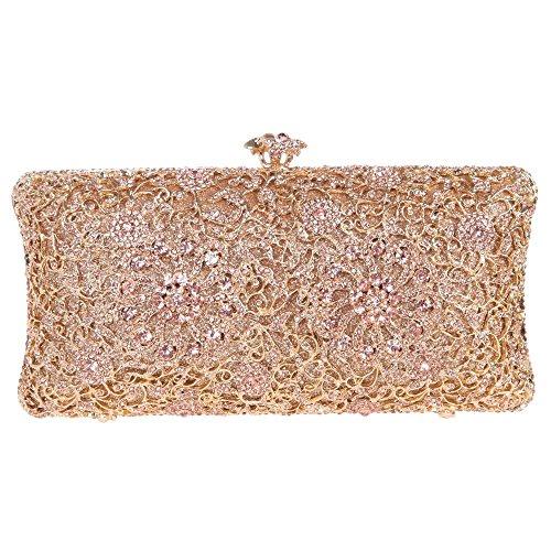 Abendtasche Kristall mit Damen Strass Geldbörse von Champagner Trageketten Lang wechselbare Clutch 2 Handtasche Schick Kolorit Blume Tasche Santimon p44wHq5