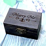 Generic Grün: Boho Ring Box Rustikal Holz Hochzeit Ring Halter Jute Kissen Alternative Ring der Box Persönlichen Geschenk Engagement Ring Box