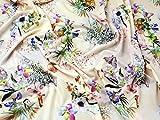 Vögel und Blumen Digital Print Stretch Jersey Kleid Stoff
