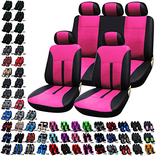 WOLTU Auto Sitzbezüge Universal Schonbezüge Sitzbezug Schonbezug Set Leder Optik Pink / Schwarz AS7288pk-a