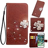 Smarit LG Q7 Wallet Multi Card Holder Back Shell Skins Folio PU Leather Cover with Skins Case for LG Q7 - Brown
