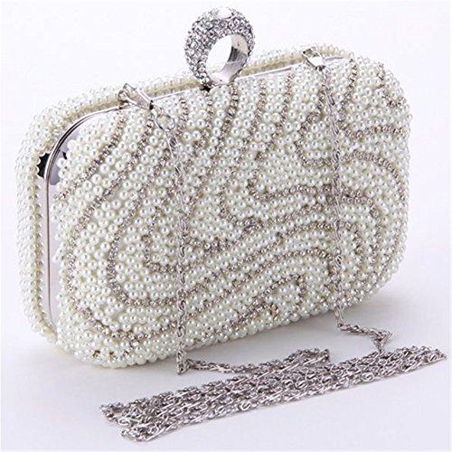 ERGEOB® Donna Clutch sacchetto di sera borsetta Clutch piccola perla diamante frizione Borsa della sposa matrimonio taschino Bianco