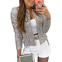 ORANDESIGNE Donna Blazer Maniche Lunghe Aperto Davanti Colletto Cappotto Elegante Ufficio Business Blazer Paillettes…