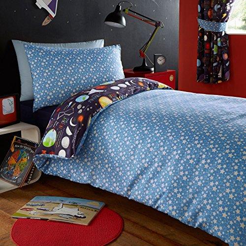 = Kidz Club Set per letto singolo da bambino, copripiumino e federa, motivo pianeti Marte, Sole e Luna, colore: blu scuro comprare on line