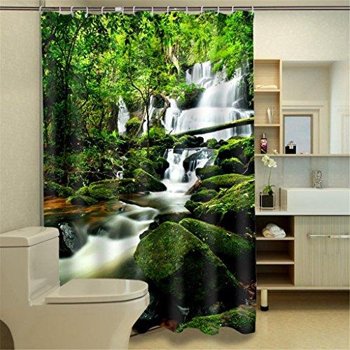 Regenwald Wasserfall Decor Vorhang für die Dusche, Laub Jungle Misty Berge und Mossy Rocks View Print Polyester-,-Badezimmer Set mit Haken 150180cm