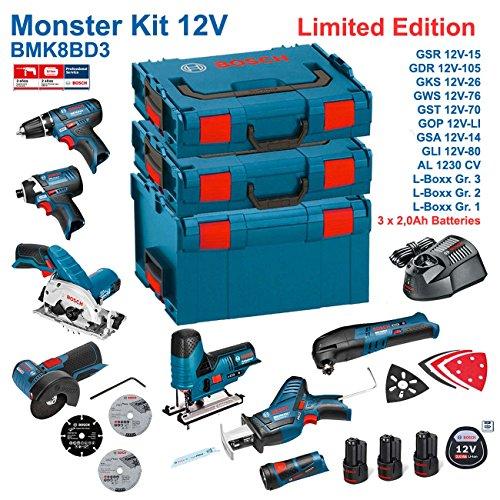 Preisvergleich Produktbild BOSCH Kit 12V BMK8BD3 (GSR 12V-15 + GDR 12V-105 + GKS 12V-26 + GWS 12V-76 + GST 12V-70 + GOP 12V-LI + GSA 12V-14 + GLI 12V-80 + 3 x 2,0Ah + AL1230CV + L-Boxx 238 + L-Boxx 136 + L-Boxx 102)