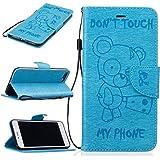 Chreey Coque Apple Iphone 7 Plus (5.5 pouces) (DON'T TOUCH MY PHONE),PU Cuir Portefeuille Etui Housse Case Cover ,carte de crédit Fentes pour ,idéal pour protéger votre téléphone