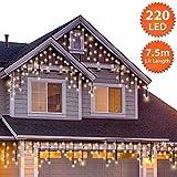 Eiszapfen Lichterkette Außen 220 LED 7,5m/24ft Lit Länge Warme Weiße Baum Lichter Weihnachten Lichterketten Aussen Memory & Timer Funktionen, NetzBetriebene 10m Lead Wire - Grünes Kabel