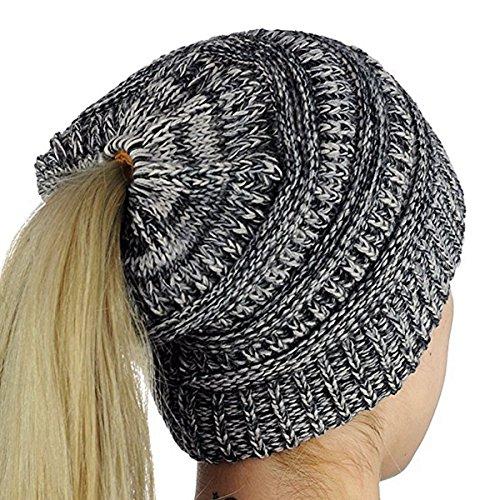 iParaAiluRy Mujer Gorros con Coleta - Caliente Gorro de Punto de Invierno y el Agujero - Sombreros de Invierno Knit Ponytail Beanie Hat