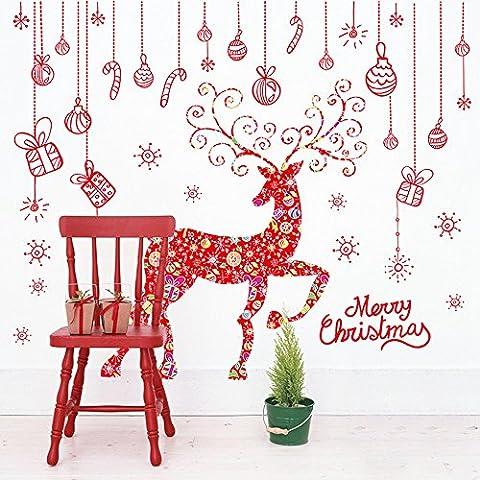 Homecube Sticker Decal Rimovibile Fai da te Buon Natale Rosso Renna Snowflake 3D Arte Murale in Vinile Impermeabile Adesivi Murali Decorazione per Vetro Finestre Delle Camere
