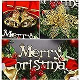 Coxeer Weihnachtskranz, Türkranz Weihnachten Weihnachtsdeko Kranz Weihnachtsgirlande mit Kugeln Handarbeit Weihnachten Garland Deko-Kranz (Mehrfarbig-Bell) - 3