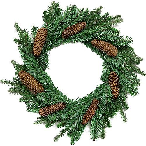 com-four® künstlicher Adventskranz in grün mit ECHTEN Tannenzapfen, Ø 45 cm, 67 Spitzen, Tannenkranz mit Zapfen für Weihnachten oder ALS Grabschmuck 7cm hoch, 12cm (01 Stück - Kranz mit Zapfen)