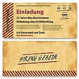 (40 x) Einladungskarten Geburtstag Vintage Retro Alt Look Karte Einladungen Braun